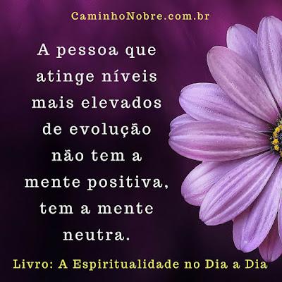 A pessoa que atinge níveis mais elevados de evolução não tem a mente positiva, tem a mente neutra. Livro A Espiritualidade no Dia a Dia