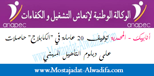 """أنابيك - المحمدية توظيف 20 عاملة في """"الكابلاج"""" حاصلات على دبلوم التأهيل المهني"""