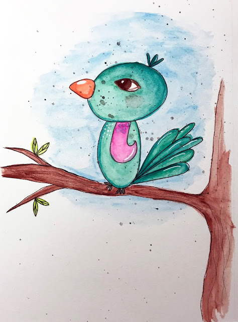 my completed cute little bird a la Mindy Lacefield's art class Draw and Paint a Bird and Bunny