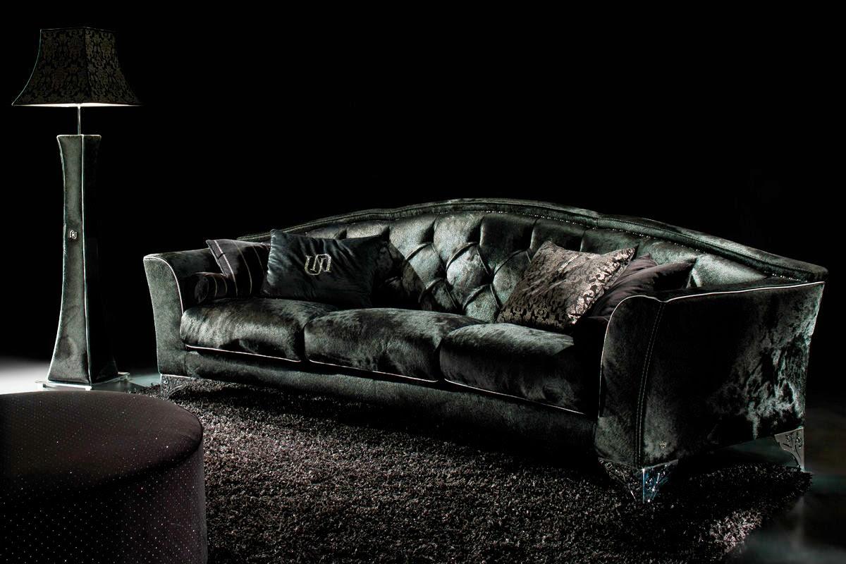Italian Luxury Sofa Brands Stretch Slipcover For Sectional Living Rooms Decor With Black Velvet Freshnist Design