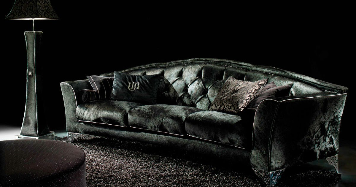 Living Rooms Decor With Black Velvet Sofa Freshnist Design