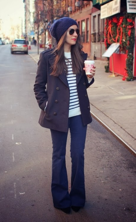 Women's Fashion flared jeans + striped sweater + pea coat + beanie