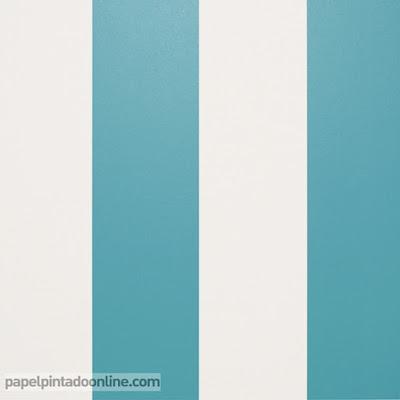 papel pintado rayas turquesas y beige ref. 914