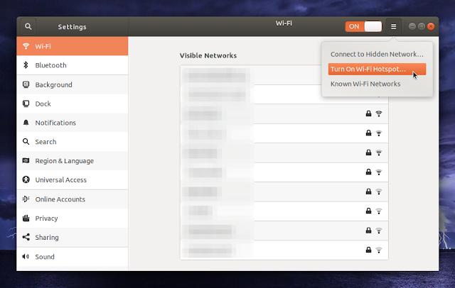 Turn on Wi-FI Hotspot Ubuntu Gnome