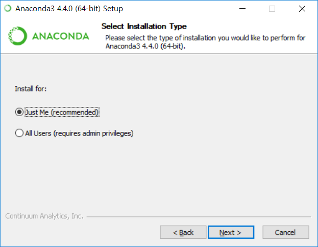 Anaconda3 설치 - 설치 방식 선택
