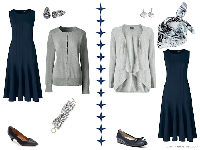 Two ways to wear a navy dress with grey accessories