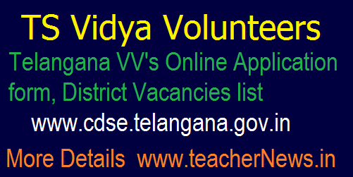 TS Vidya Volunteers 2018 Online Application form, District Vacancies list @ cdse.telangana.gov.in