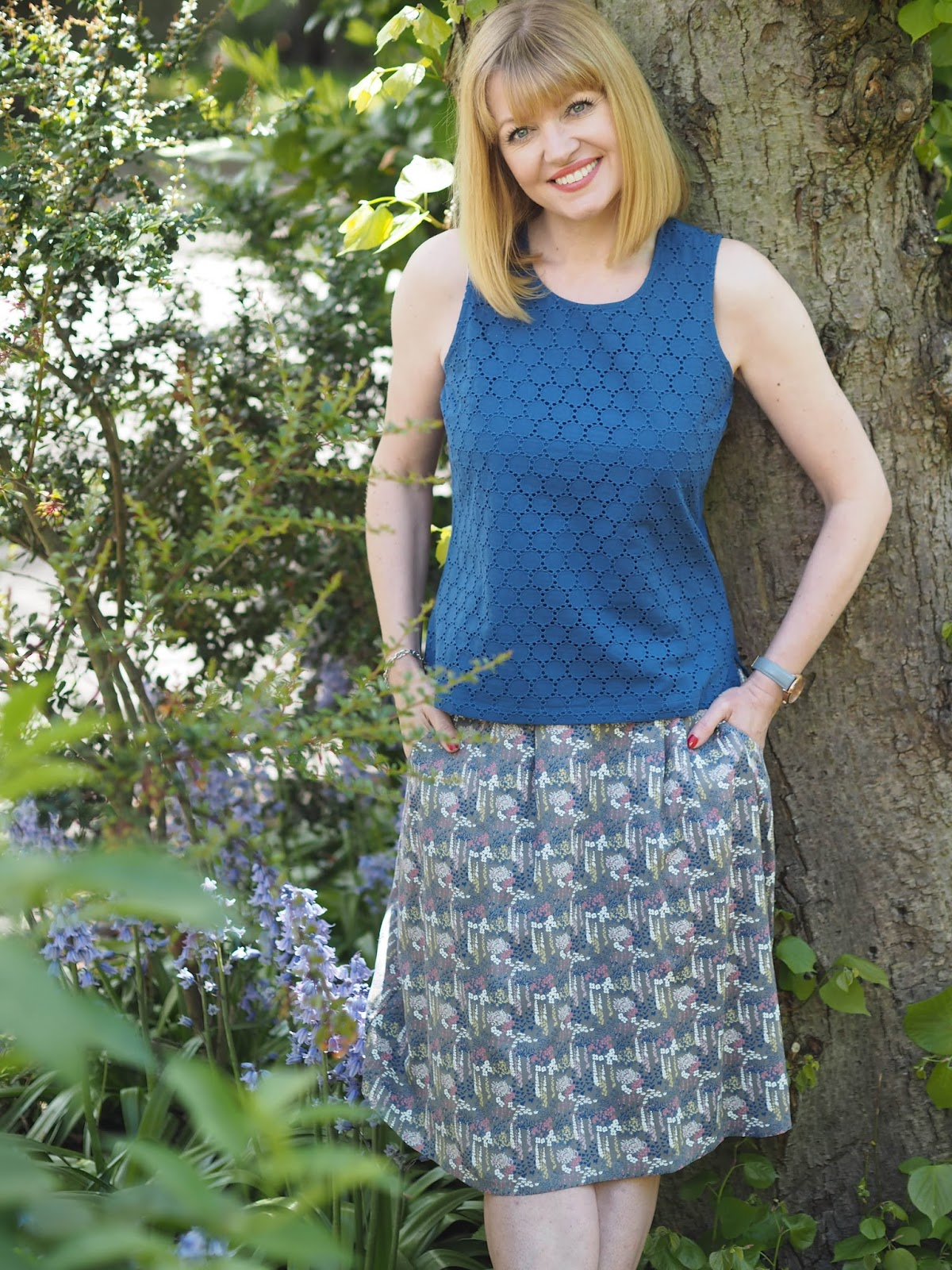 What-Lizzy-Loves- blue-broderie-shell-top-floral-skirt-