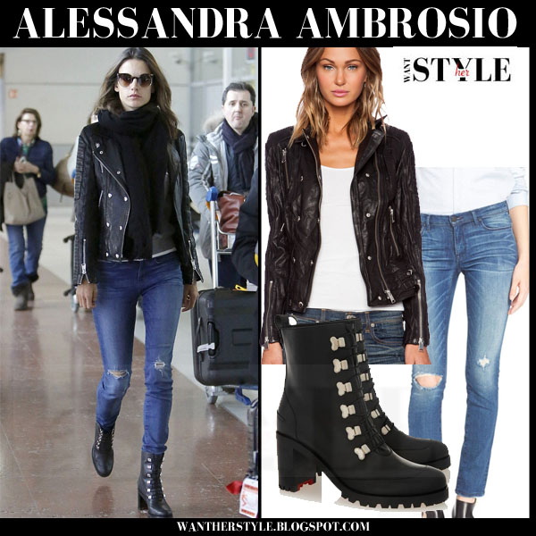 huge selection of 4e078 543d2 Alessandra Ambrosio in black leather jacket and black ankle ...