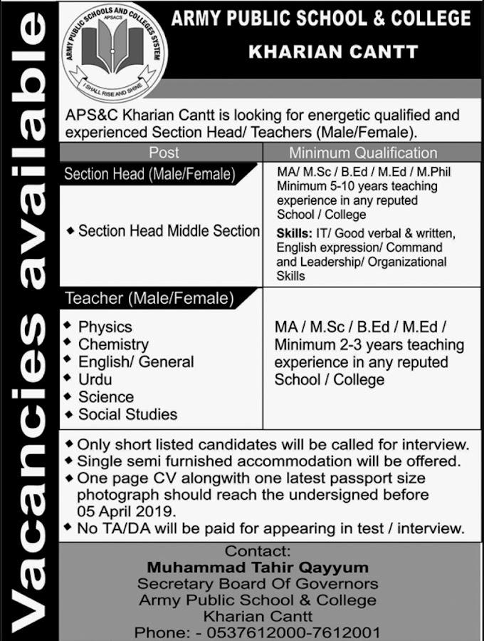 Army Public School & College Kharian Cantt Jobs March 2019 APS&C