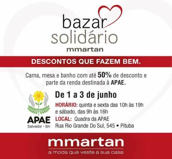 Bazar solidário. Parte da renda destinada para APAE. Participe!