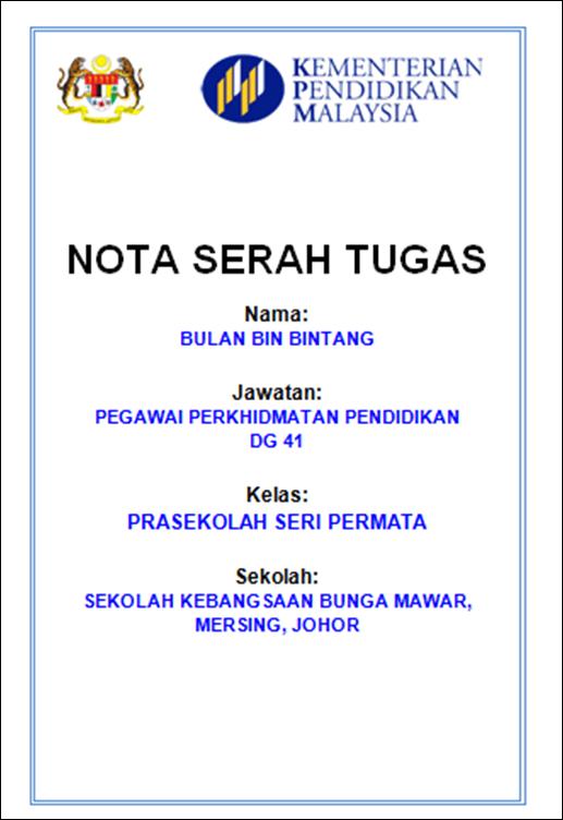 Contoh Nota Serah Tugas Cute766