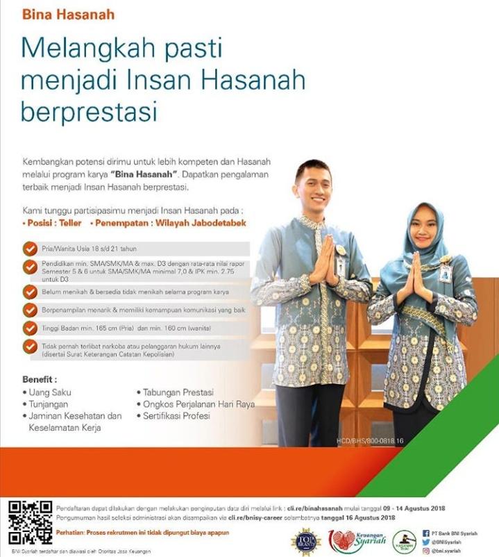 Pendaftaran Lowongan Kerja Teller BNI Syariah Untuk Lulusan SMA/SMK/D3