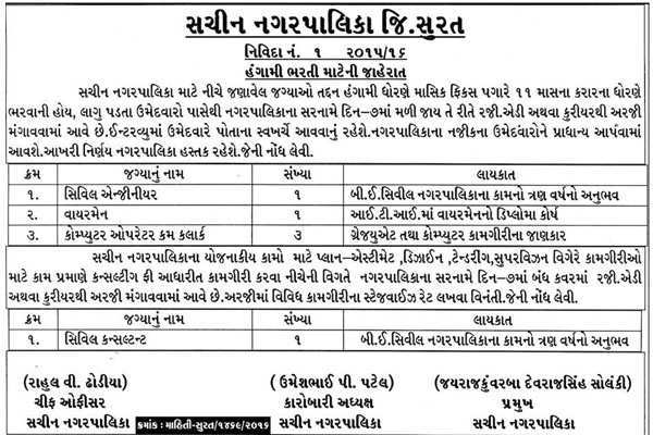 Sachin Nagarpalika Various Recruitment 2016