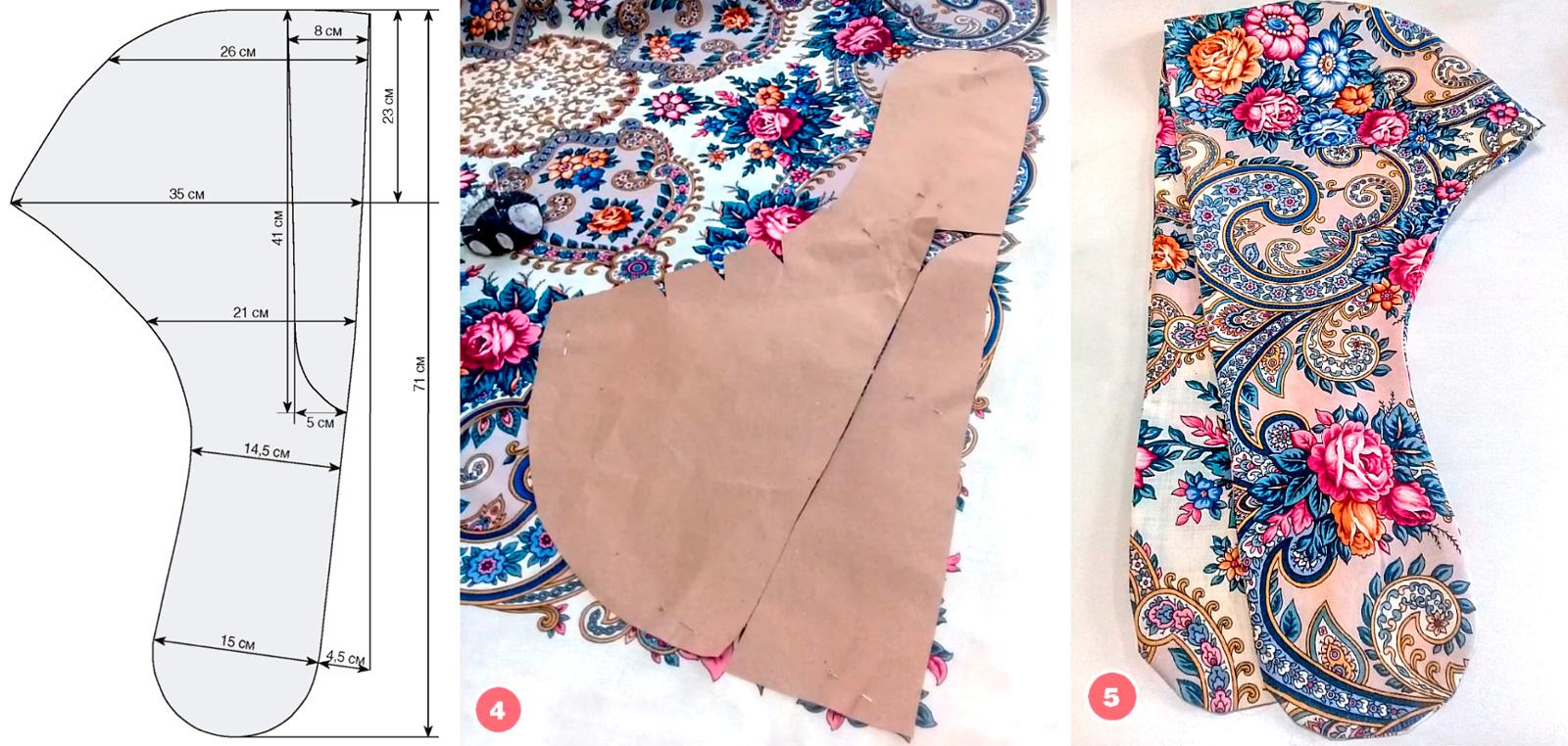 Капюшон из платка с отделкой мехом