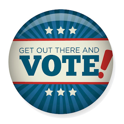 image of an election button.  Text: Get Out There and Vote!