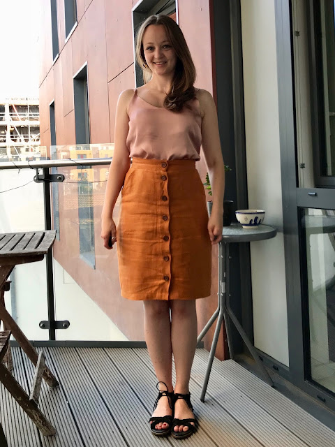 Diary of a Chain Stitcher: Cloth Shop Orange Linen Sew Over It Erin Skirt and The Fabric Store Blush Viscose Satin True Bias Ogden Cami