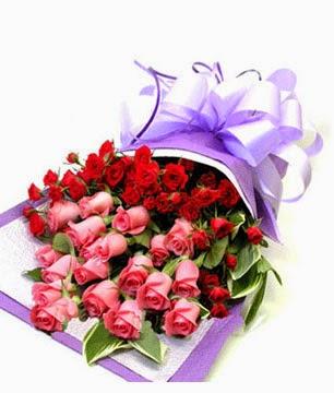 Gambar Bunga Romantis Warna Pink dan Merah I Love U Wallpaper