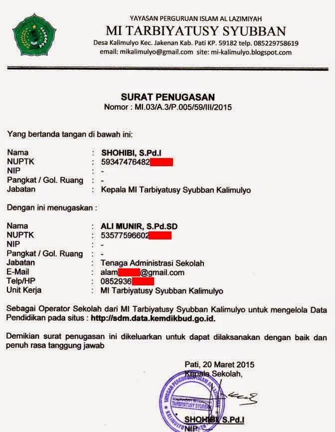 Contoh Surat Tugas Operator Sekolah Untuk Kelola Verval Pd