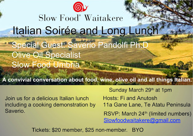 Slow Food Waitakere Italian Soirée  and Long Italian Lunch – Your Invitation.