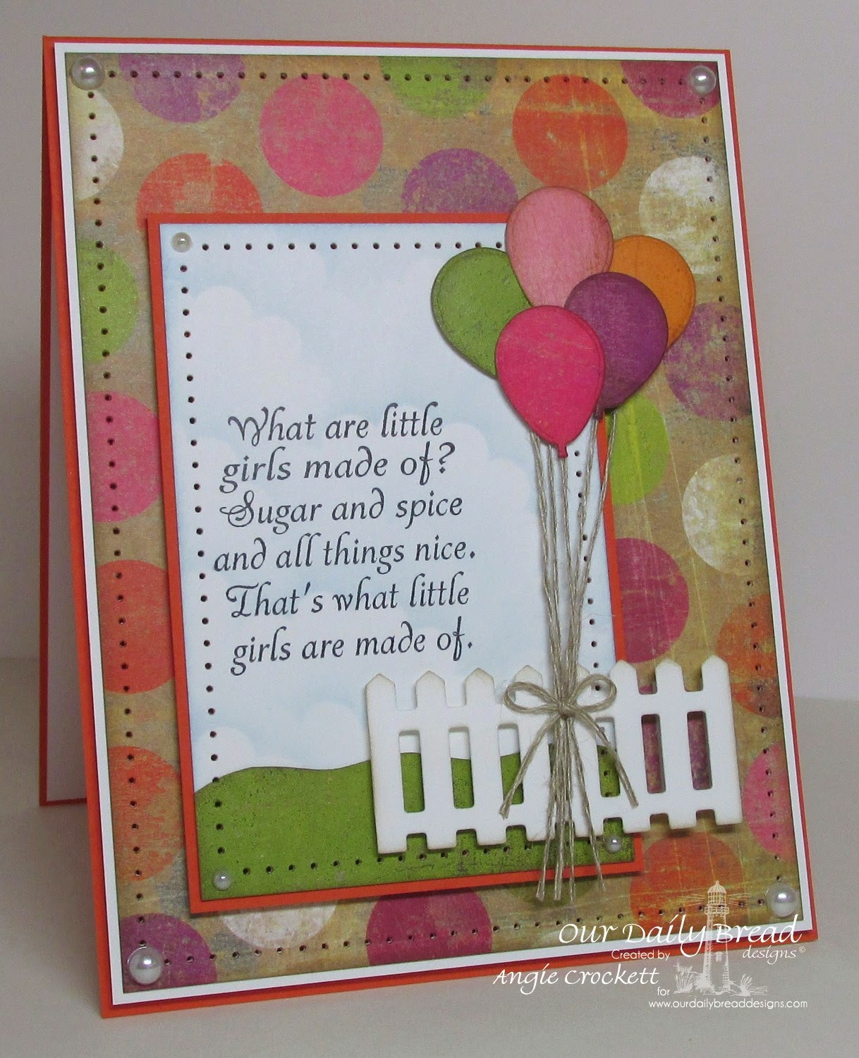 ODBD Little Girls, ODBD Custom Happy Birthday Dies, ODBD Fence Die, Card Designer Angie Crockett