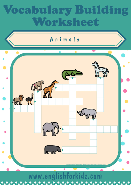 African animals crossword puzzle - printable ESL worksheets