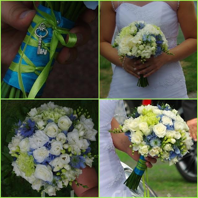 Bukiet ślubny niebiesko biały z zielonym akcentem