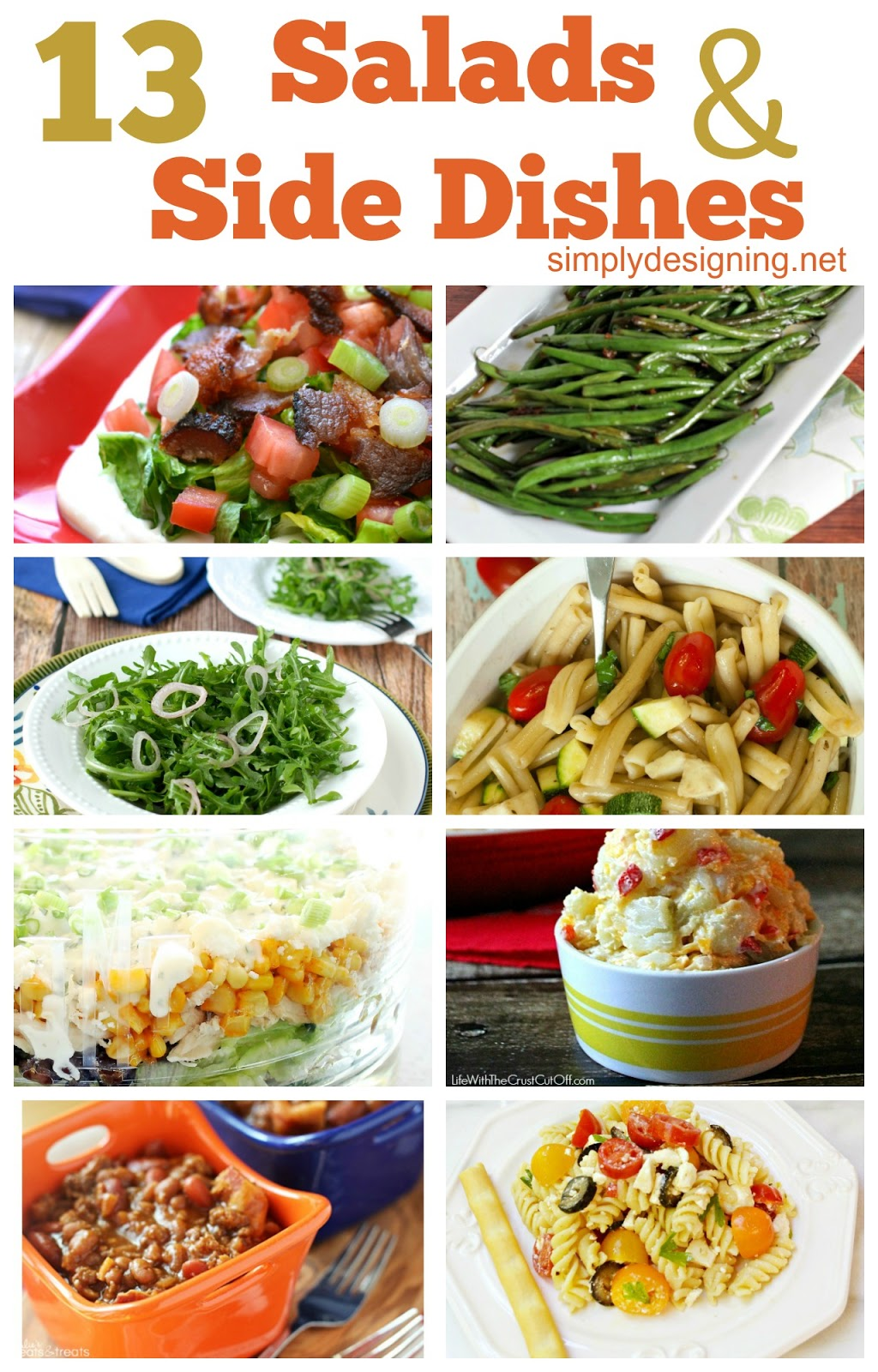 13 Salad and Side Dish Recipes ~ great list of amazing recipes!  Definitely need to pin for later | #dinner #recipes #sidedishes #salads