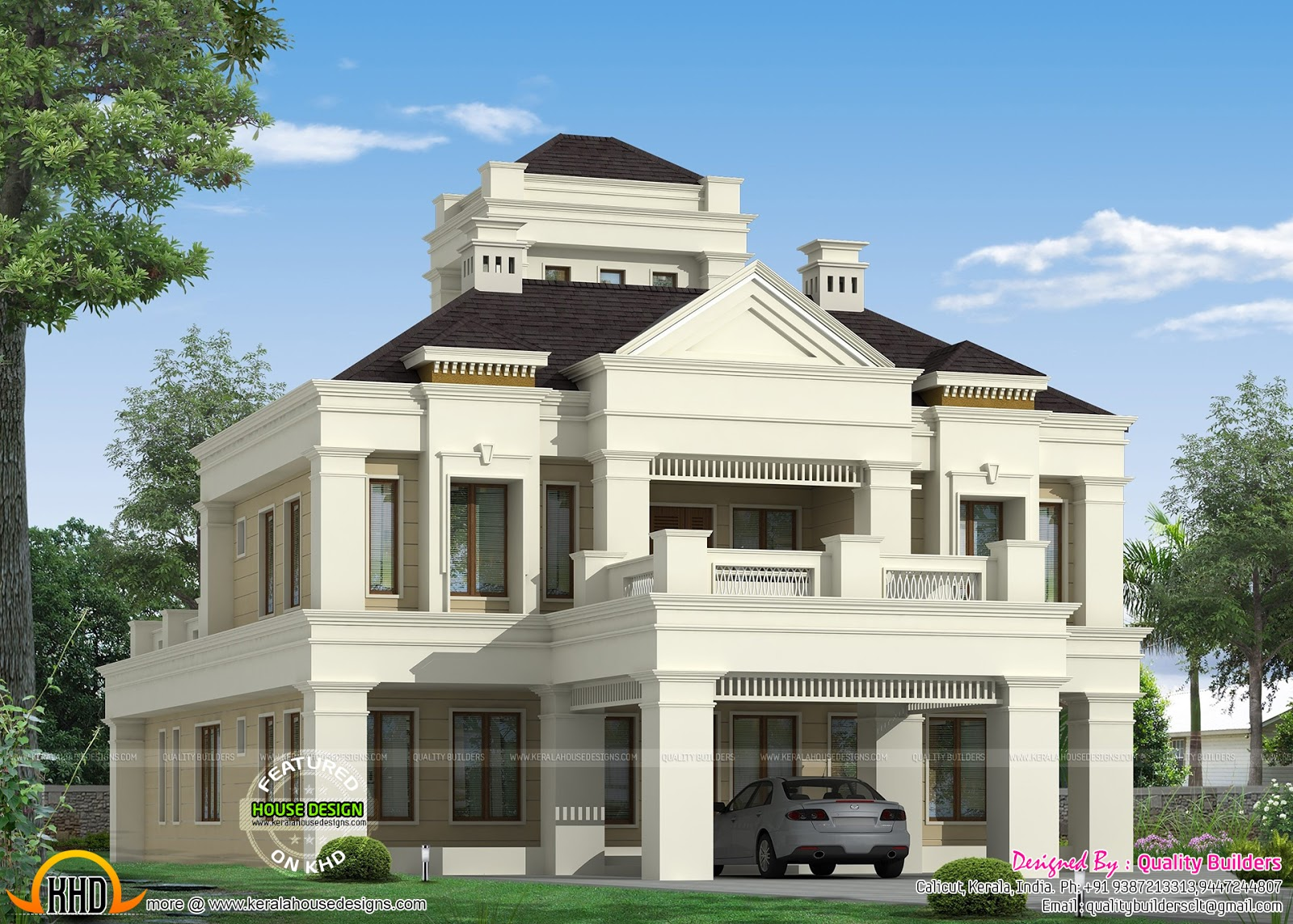 Kerala home design and floor plans colonial style home for Colonial style homes pictures