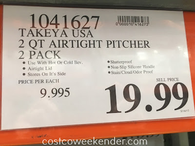 Deal for the Takeya 2qt Airtight Pitcher (2 pack) at Costco