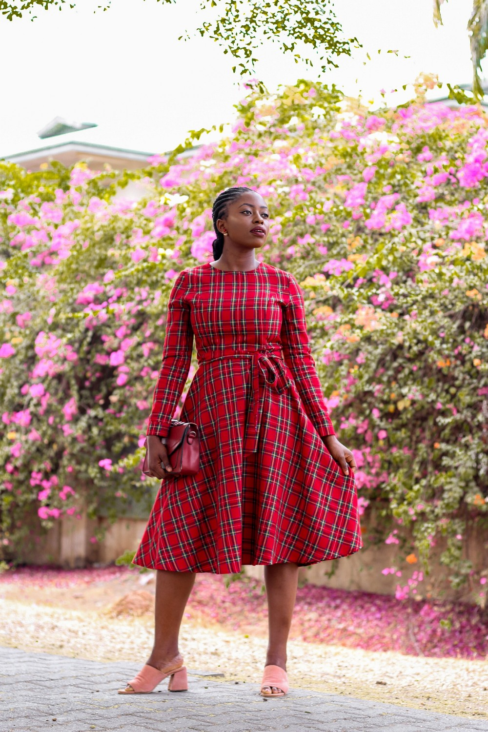 red tartan plaid midi dress with pink mules