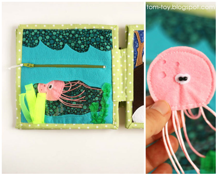 Quiet book elephants, jellyfish, ocean, sea, zipper, fine motor skills, busy book, fabric book, felt book, for children, first birthday present, unique gift, handmade gift, развивающая книга,  развивайка, мелкая моторика, игрушка для ребенка, аппликации, подарок ребенку,  качественная книга, стильный подарок, качественный подарок, эксклюзивный подарок, фетр, аппликации из фетра, ручная работа, из фетра, пуговицы, медуза, океан, молния