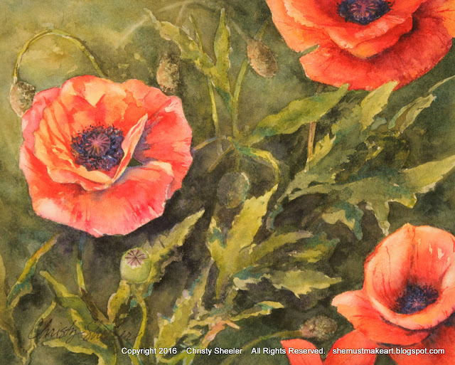 Dancing Poppies original artwork by Christy Sheeler 2016