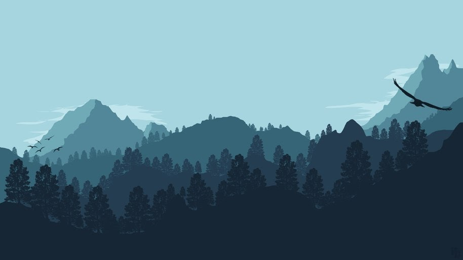 Minimalist, Nature, Forest, Mountains, Digital Art, 4K, #36