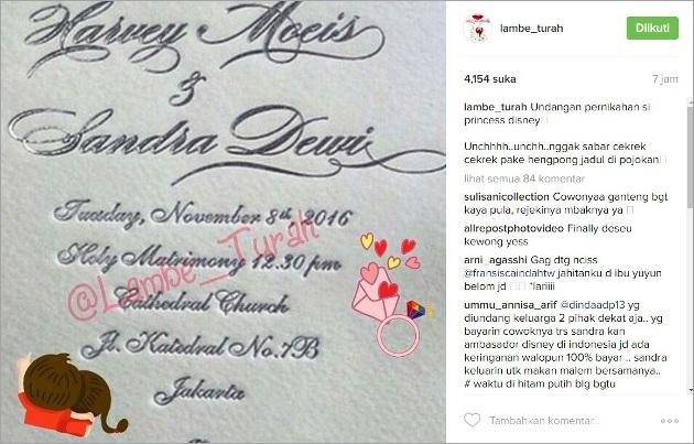 Undangan Pernikahan Sandra Dewi Beredar, Netter Malah Ribut Soal Gelar