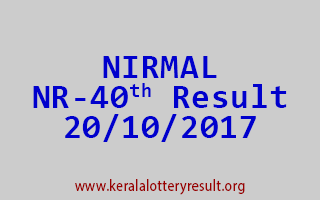 NIRMAL Lottery NR 40 Results 20-10-2017
