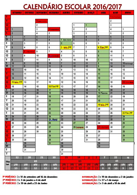 Resultado de imagem para calendário escolar 2016 e 2017