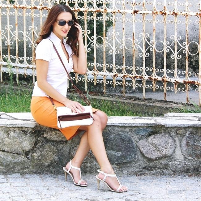 Jelena Zivanovic Instagram @lelazivanovic.Glam fab week.Summer work outfits.Orange-white-brown outfit.Letnji outfit za posao.