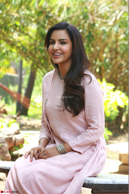 Priya Anand in simply Pink at an interview for movie KOOTATHIL ORUTHAN~  Exclusive celebrities galleries 001.jpg