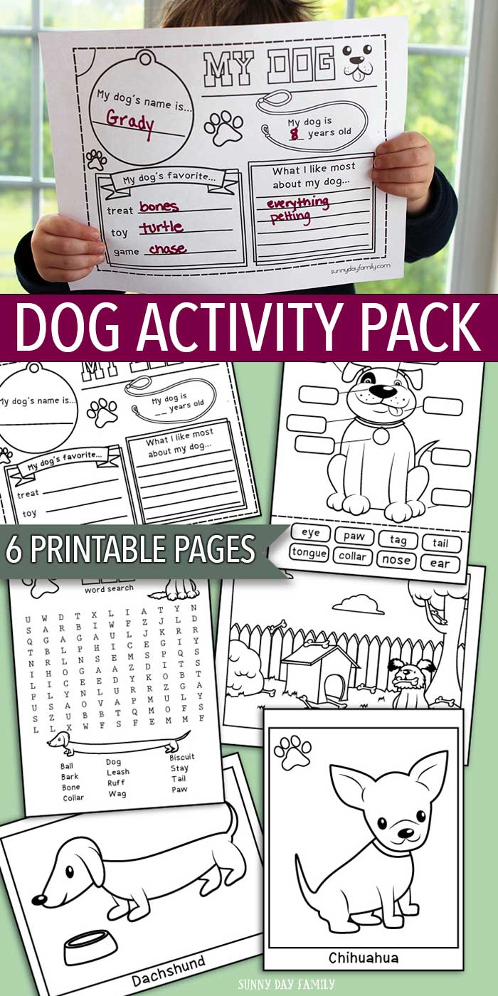 printable dog activity pack for kids coloring pages and more