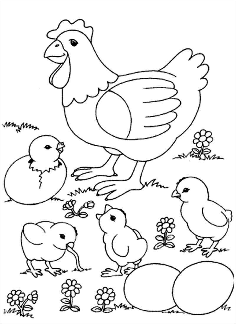 Tranh tô màu gia đình gà con cho bé tập tô