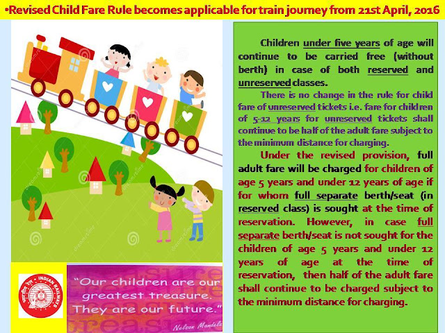 IRCTC Revised Child Fare Rule applicable for train journey from 21st April, 2016