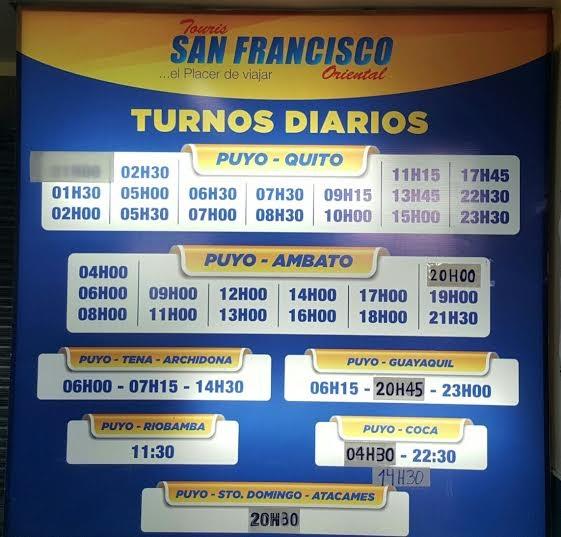 Cooperativa de Transportes Touris San Francisco Oriental en la ciudad de Puyo