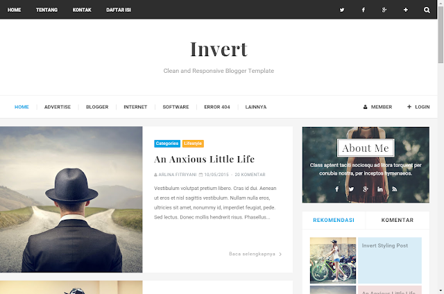 Invert Blogger Template 2016