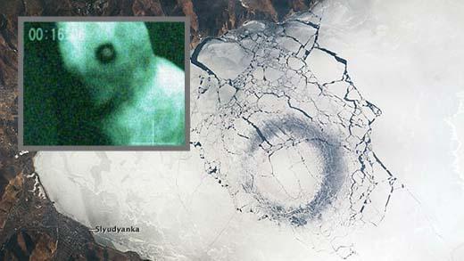 Enormes anillos negros aparecen en el misterioso lago Baikal, extraña criatura sería el responsable