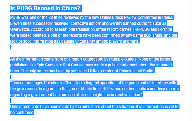is pubg banned in china?
