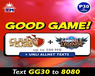 TM GG30 – Unli All Net Texts plus COC + Mobile Legends for 3 Days