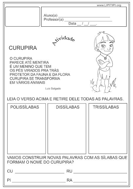 Atividade Folclore - Dissílaba , trissílaba e polissílaba