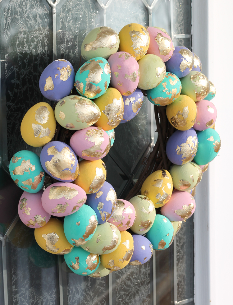 Make a colorful gold leaf Easter egg spring wreath