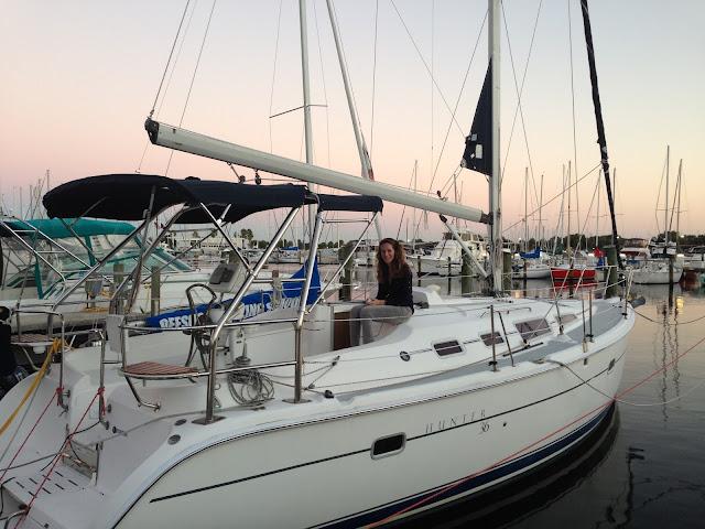 Hunter sailboat at sunset, St Petersburg sailing school